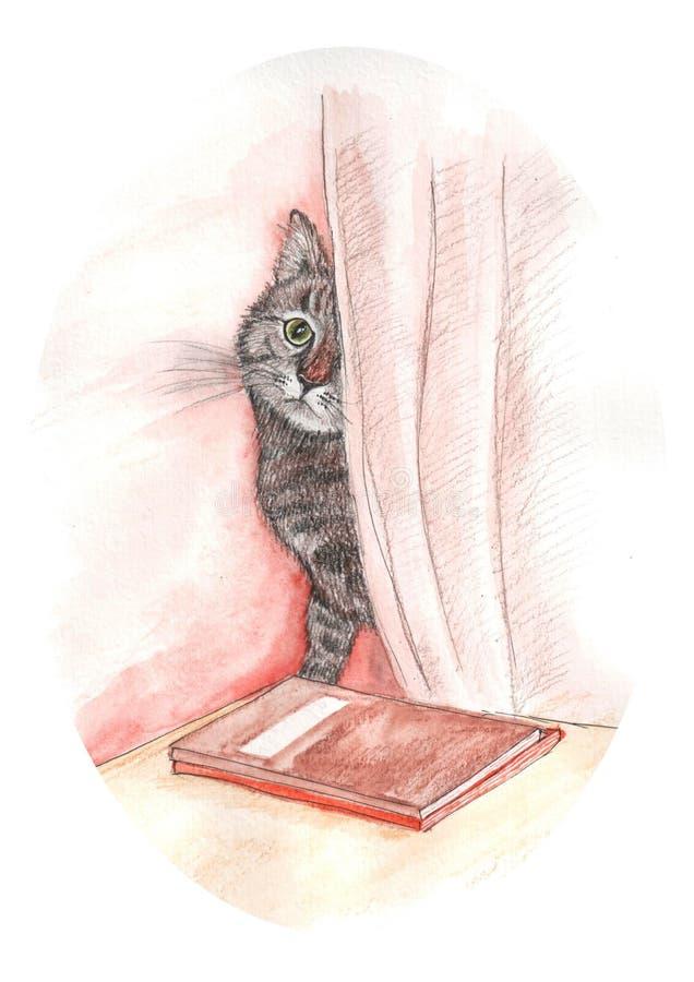 illustrazione del gatto dell'acquerello royalty illustrazione gratis