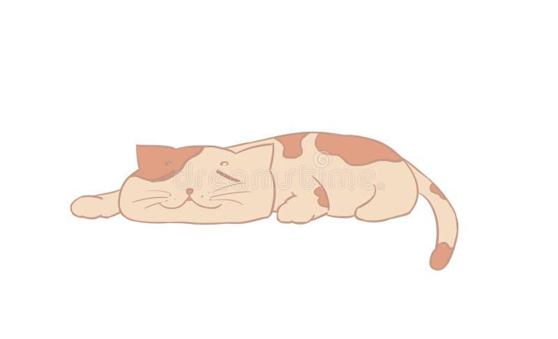 Illustrazione del gatto, disegno del fumetto del gattino, sonno felice, a sveglia illustrazione di stock