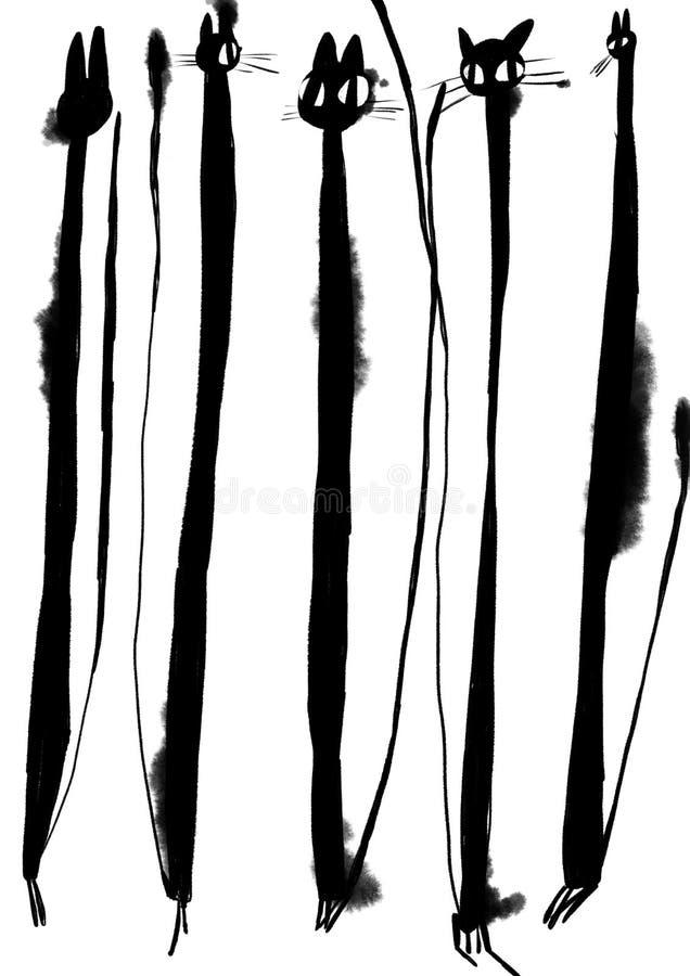 Illustrazione del gatto nero dell'acquerello Disegno dell'inchiostro royalty illustrazione gratis