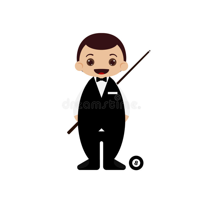 Illustrazione del giocatore dello snooker del fumetto illustrazione di stock