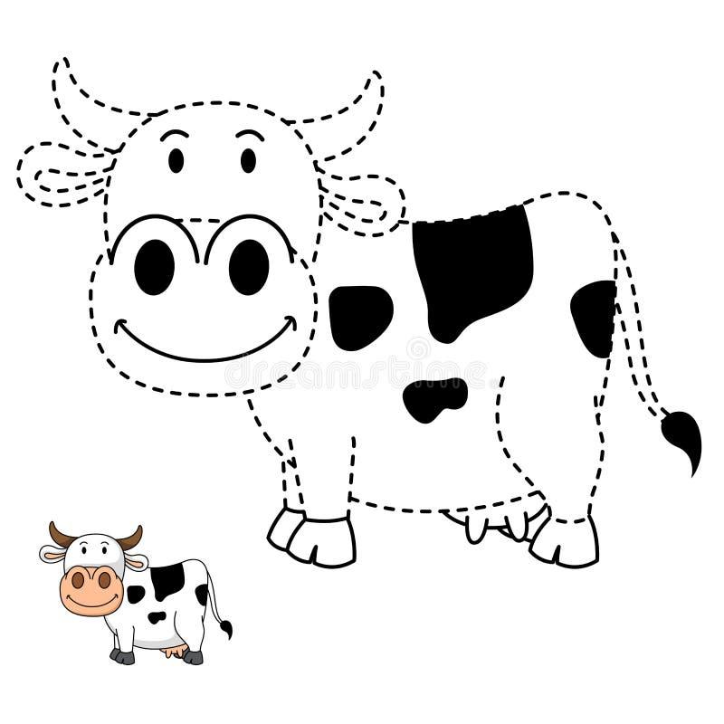 Illustrazione del gioco educativo per i bambini e la libro-mucca di coloritura illustrazione di stock