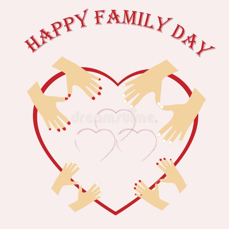 Illustrazione del giorno internazionale delle famiglie Famiglia felice, papà della mamma ed i loro bambini, ragazzo e ragazza royalty illustrazione gratis