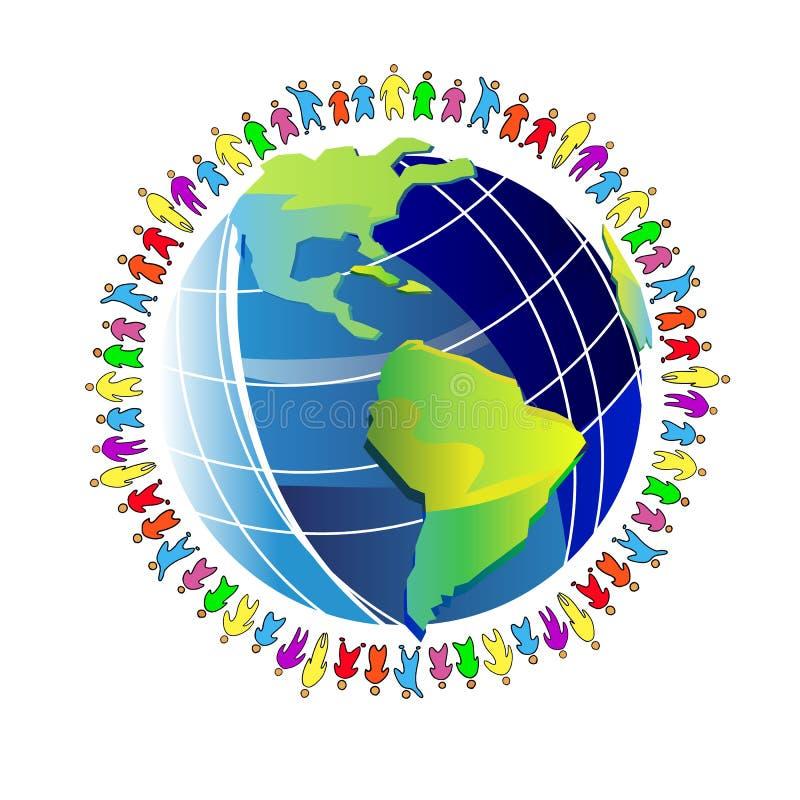 Illustrazione del globo del pianeta del mondo della gente globale intorno a pace illustrazione vettoriale