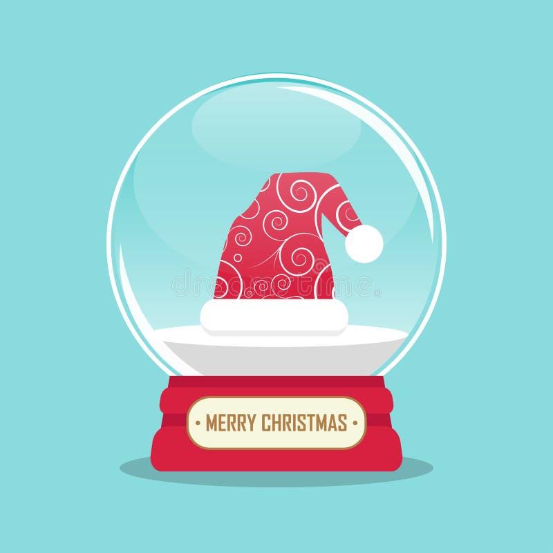 illustrazione del globo della neve con il cappello del Babbo Natale dentro illustrazione vettoriale