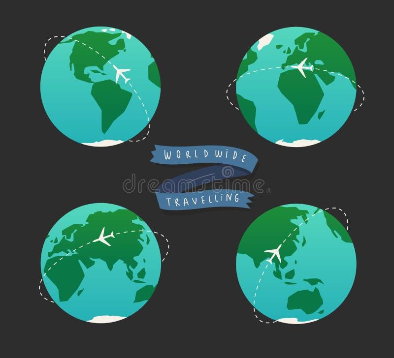 Illustrazione del globo della terra Insieme della mappa di mondo illustrazione vettoriale