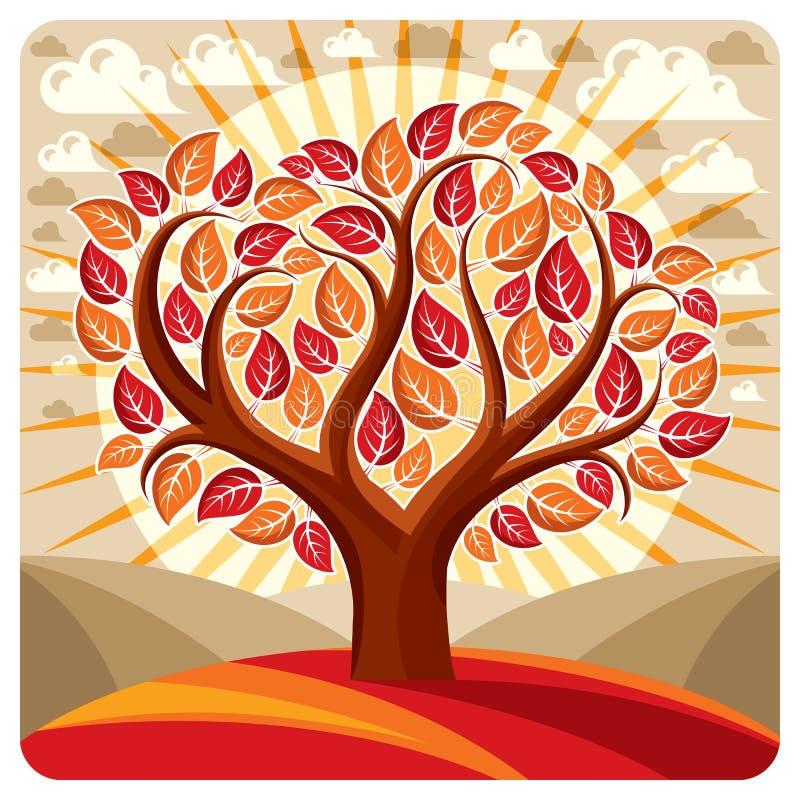 Illustrazione del grafico di vettore di arte dell'albero creativo che cresce sul wond royalty illustrazione gratis