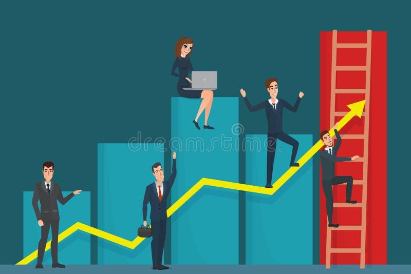 Illustrazione del gruppo dell'uomo d'affari sul grafico della freccia Leader della squadra royalty illustrazione gratis