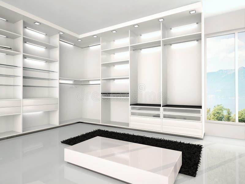 Illustrazione del guardaroba bianco lussuoso illustrazione di stock
