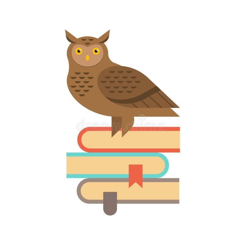 Illustrazione del gufo saggio che si siede sulla pila di libri illustrazione di stock