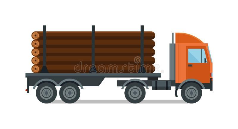 Illustrazione del legno di vettore del camion del legname isolata illustrazione di stock