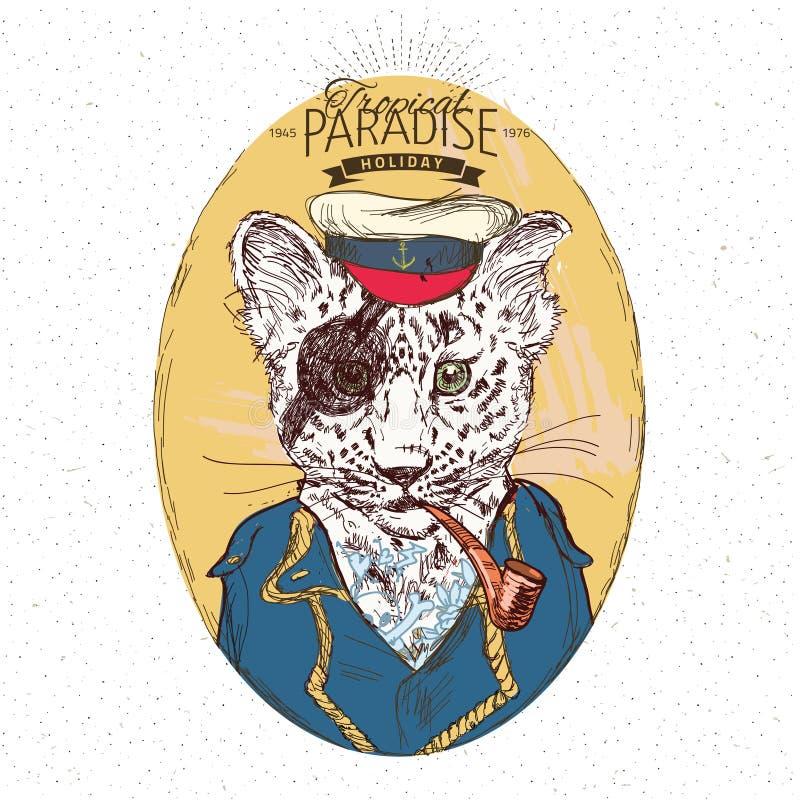 Illustrazione del leopardo del pirata su fondo blu nel vettore royalty illustrazione gratis