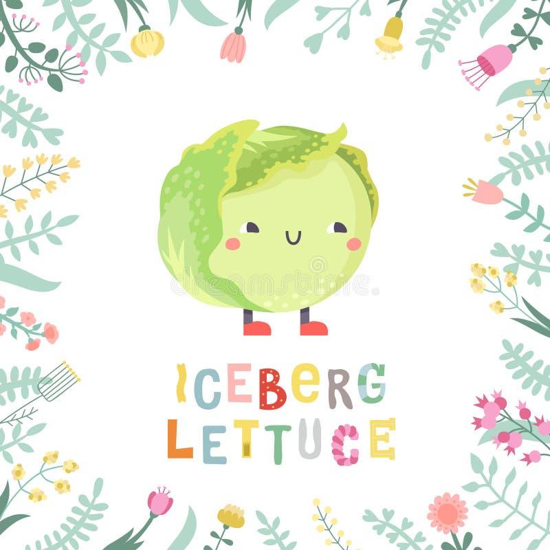 Illustrazione del lettucce dell'iceberg del fumetto con i fiori e l'iscrizione illustrazione vettoriale