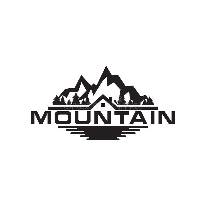 Illustrazione del logo della montagna, degli alberi, della casa e del campo royalty illustrazione gratis