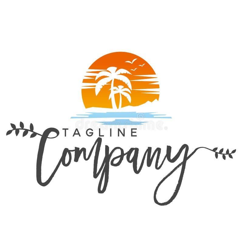 Illustrazione del logo della spiaggia immagini stock libere da diritti