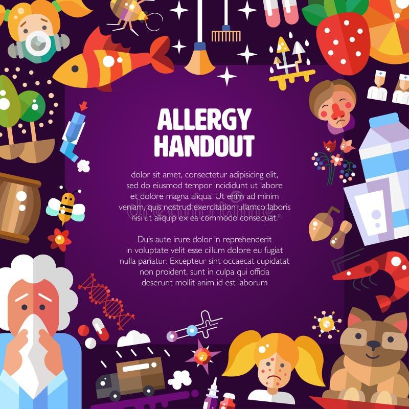 Illustrazione del manifesto con l'allergene piano di progettazione illustrazione di stock
