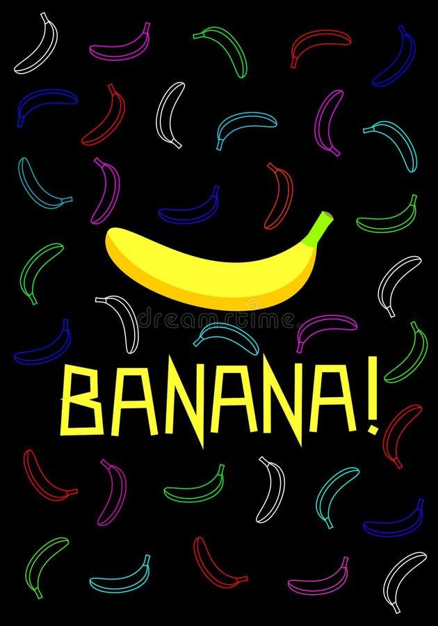 Illustrazione del manifesto della banana Fondo nero di molte banane variopinte illustrazione di stock