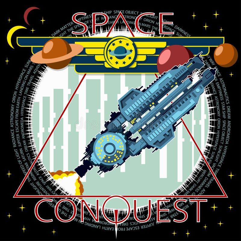 Illustrazione del manifesto o della maglietta Il veicolo spaziale decolla contro lo sfondo della città illustrazione di stock