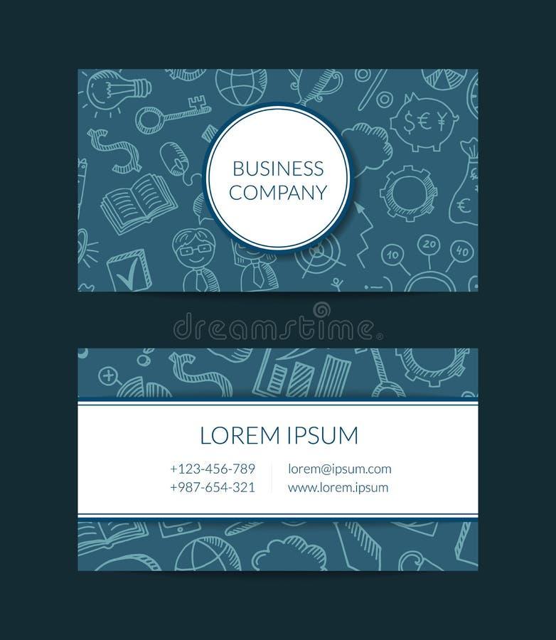 Illustrazione del modello del biglietto da visita delle icone di scarabocchio di affari di vettore illustrazione di stock