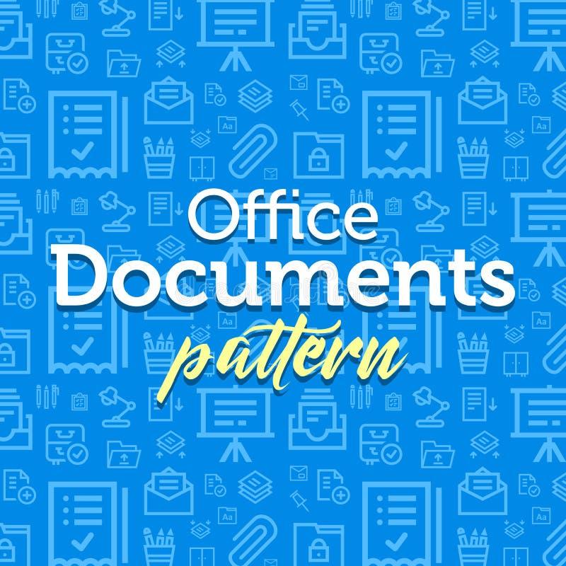 Illustrazione del modello dei documenti con le icone piane semplici del profilo di vettore sul fondo di struttura royalty illustrazione gratis