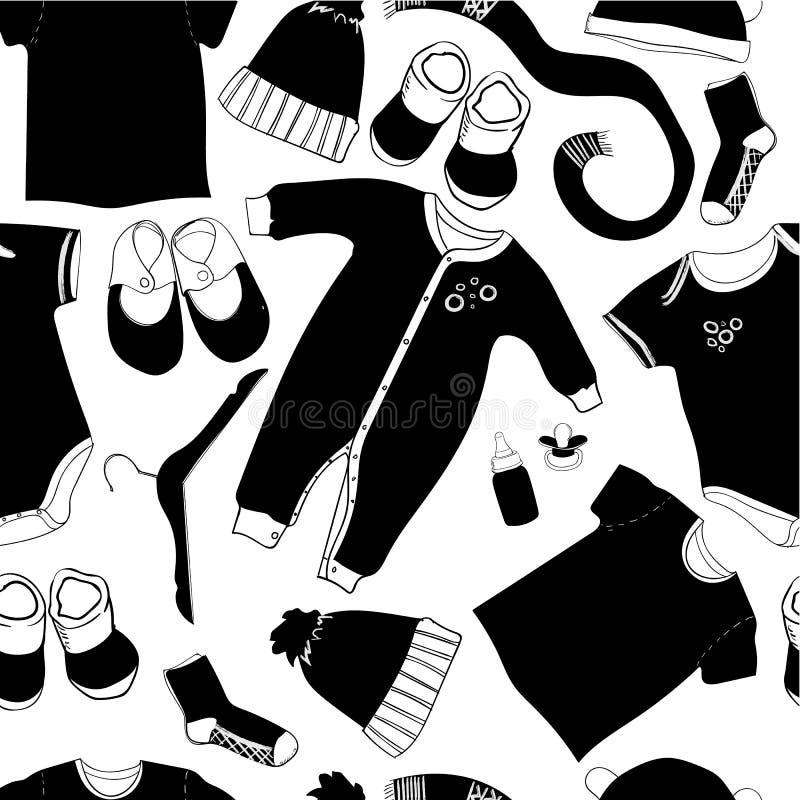 Illustrazione del modello senza cuciture scandinavo del bambino Grafico in bianco e nero Vestiti disegnati a mano Cappuccio infan illustrazione vettoriale