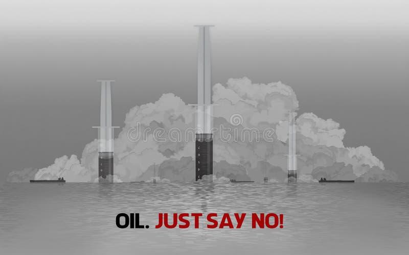 Illustrazione del mondo sopra la dipendenza da olio illustrazione di stock