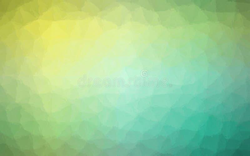 Illustrazione del mosaico pastello verde e giallo attraverso il fondo dei mattoni di vetro illustrazione di stock