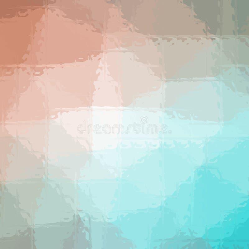 Illustrazione del mosaico rosa e blu quadrato attraverso il fondo dei mattoni di vetro illustrazione di stock