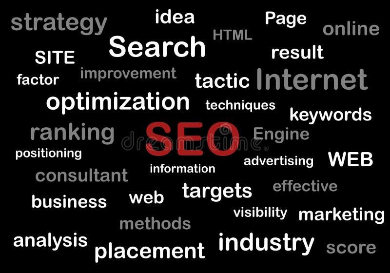 Illustrazione del motore di ottimizzazione di ricerca per il sito Web illustrazione vettoriale