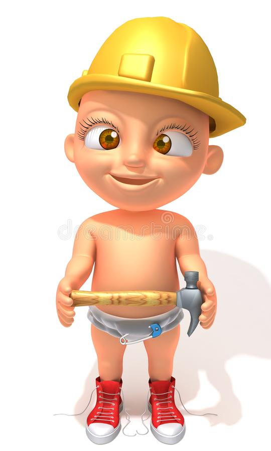 Illustrazione del muratore 3d di Jake del bambino royalty illustrazione gratis
