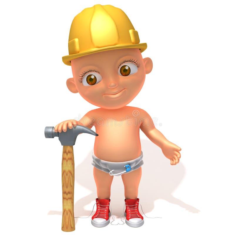 Illustrazione del muratore 3d di Jake del bambino illustrazione di stock
