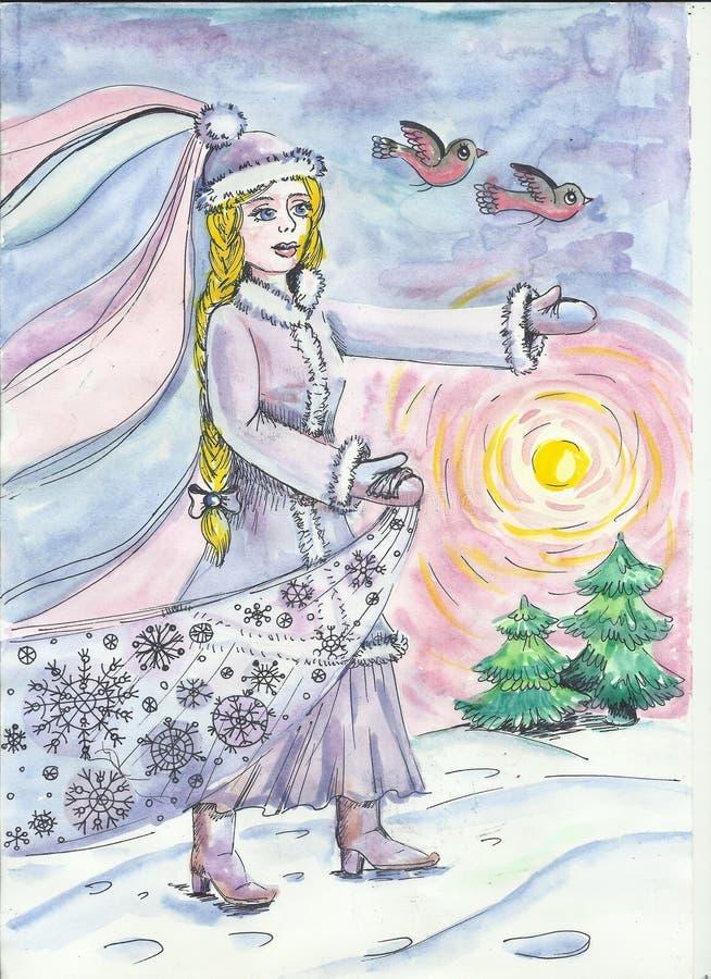 Illustrazione del nuovo anno dei bambini s Ragazza della neve illustrazione vettoriale