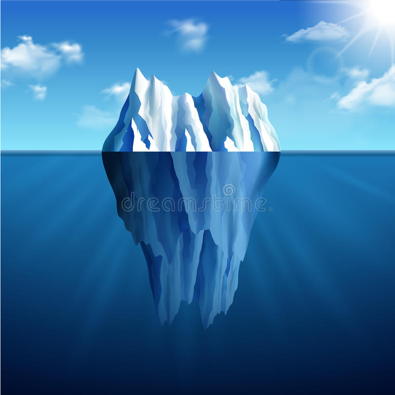 Illustrazione del paesaggio dell'iceberg illustrazione di stock
