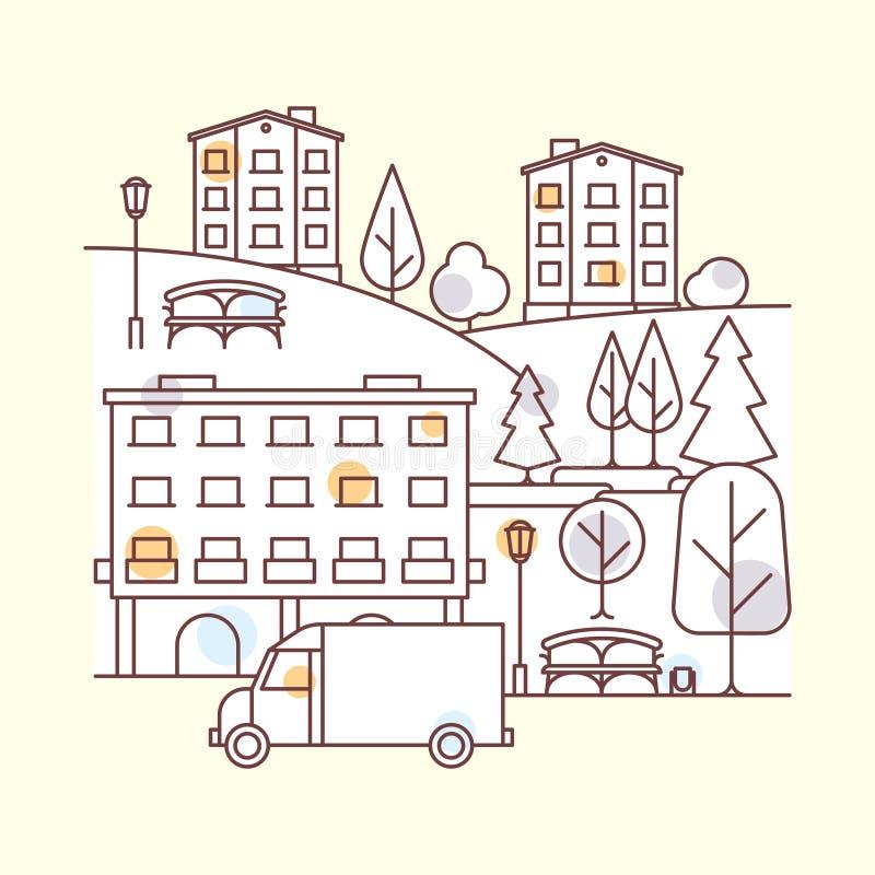 Illustrazione del paesaggio della città royalty illustrazione gratis