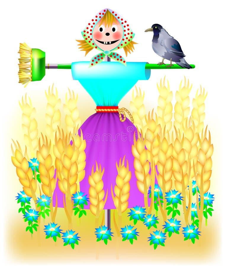 Illustrazione del paesaggio di fantasia con lo spaventapasseri in un giacimento di grano illustrazione vettoriale