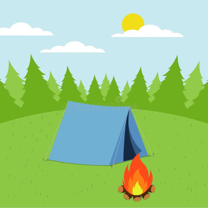 Illustrazione del paesaggio di giorno soleggiato nello stile piano con la tenda, il fuoco di accampamento, le montagne, la forest illustrazione di stock