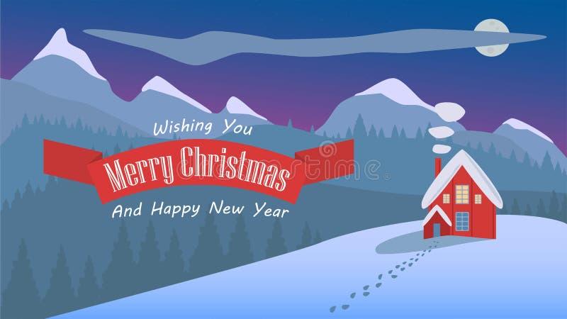 Illustrazione del paesaggio di Natale di notte di progettazione semplice fotografie stock libere da diritti