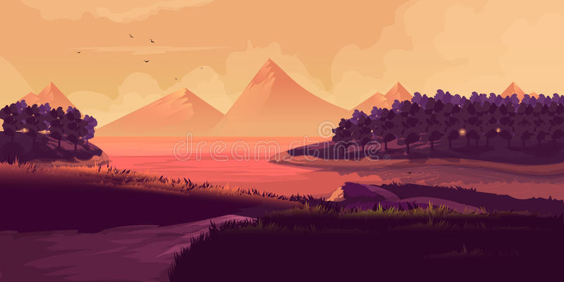 Illustrazione del paesaggio di notte, montagne, tramonto illustrazione vettoriale