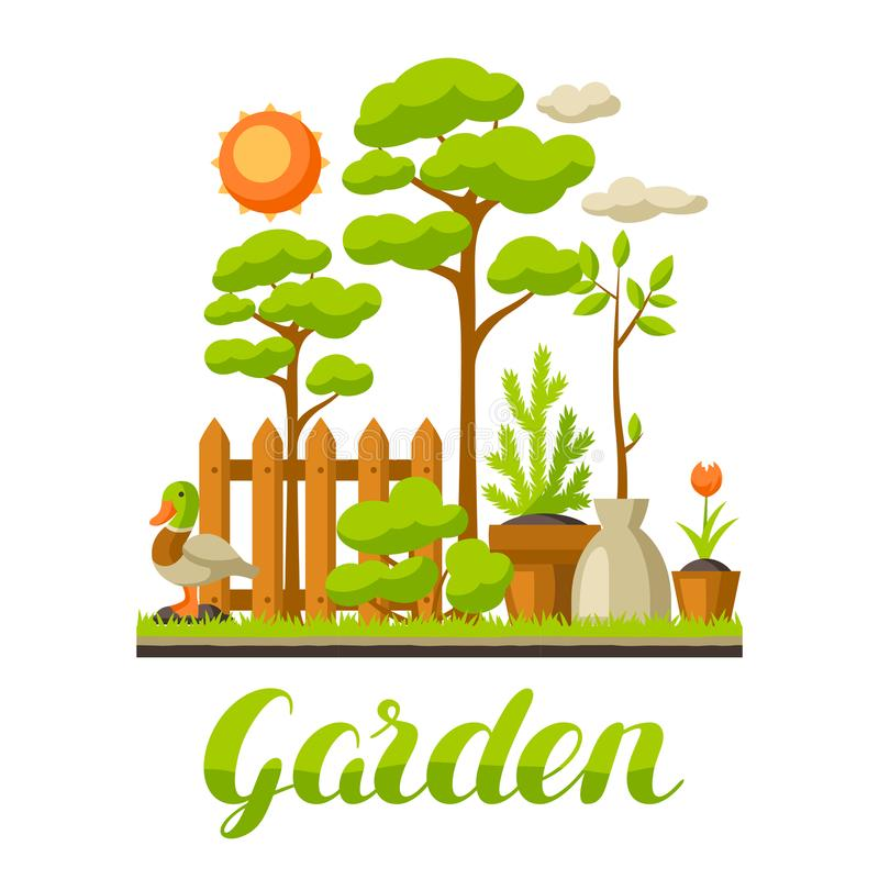 Illustrazione del paesaggio del giardino con le piante Concetto di giardinaggio di stagione royalty illustrazione gratis