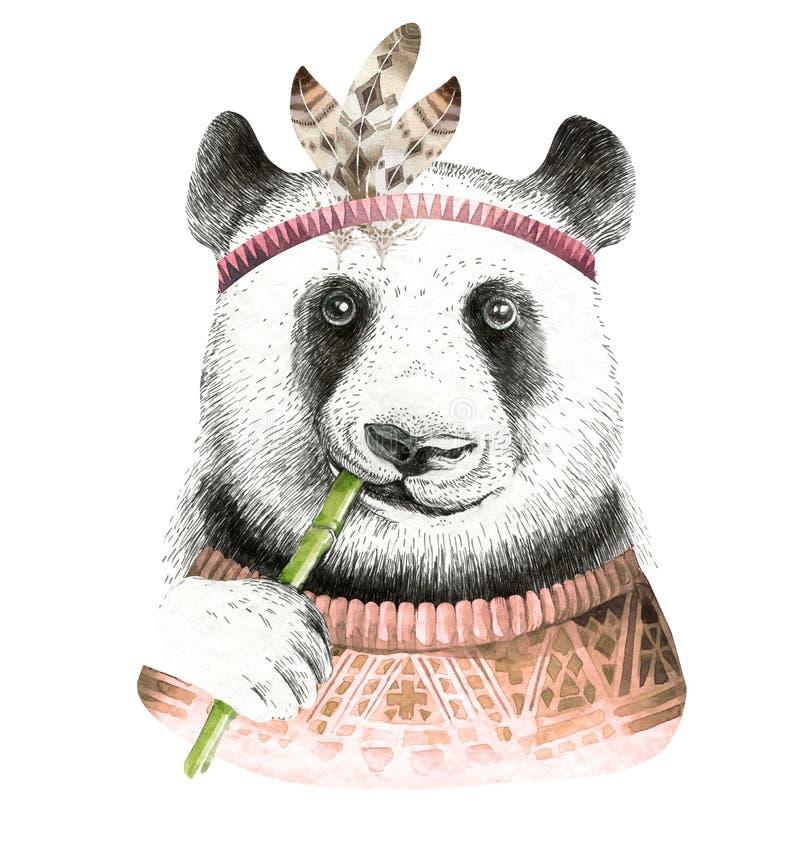 Illustrazione del panda dell'acquerello Animale sveglio della Boemia Stile di Boho royalty illustrazione gratis