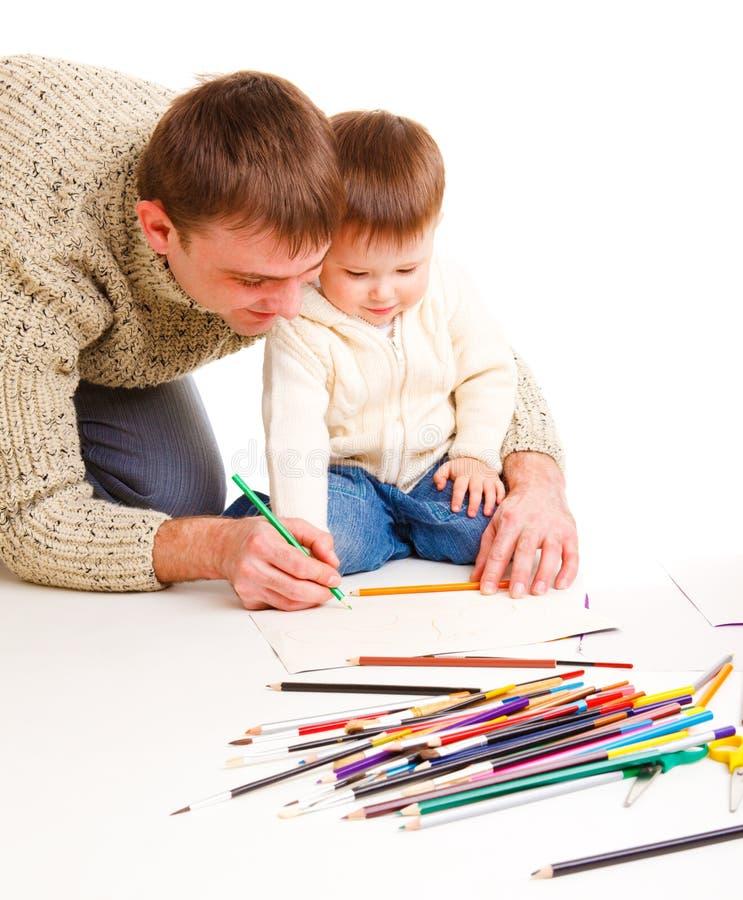 Illustrazione del papà con il figlio immagini stock
