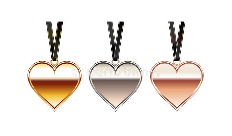 Illustrazione del pendente del cuore Collana del cuore Accessorio del cuore illustrazione vettoriale