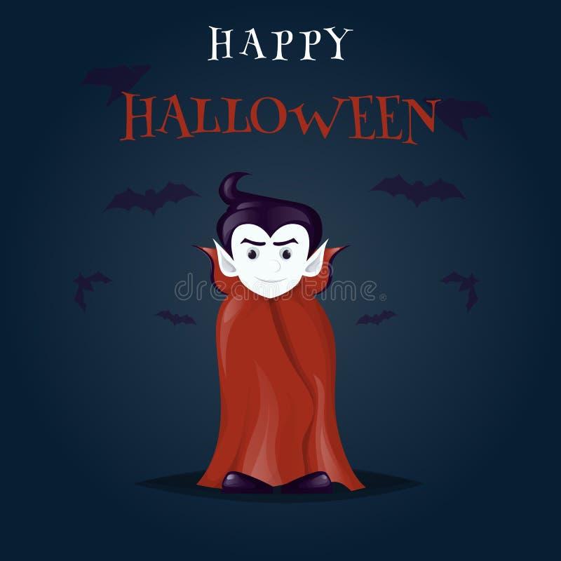 Illustrazione del personaggio dei cartoni animati del costume del vampiro di Halloween Dracula illustrazione di stock