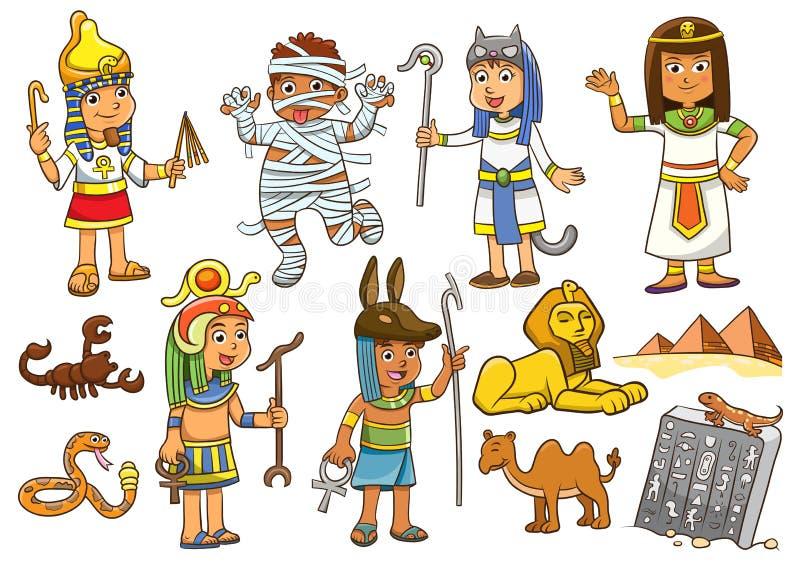 Illustrazione del personaggio dei cartoni animati del bambino dell'egitto illustrazione vettoriale