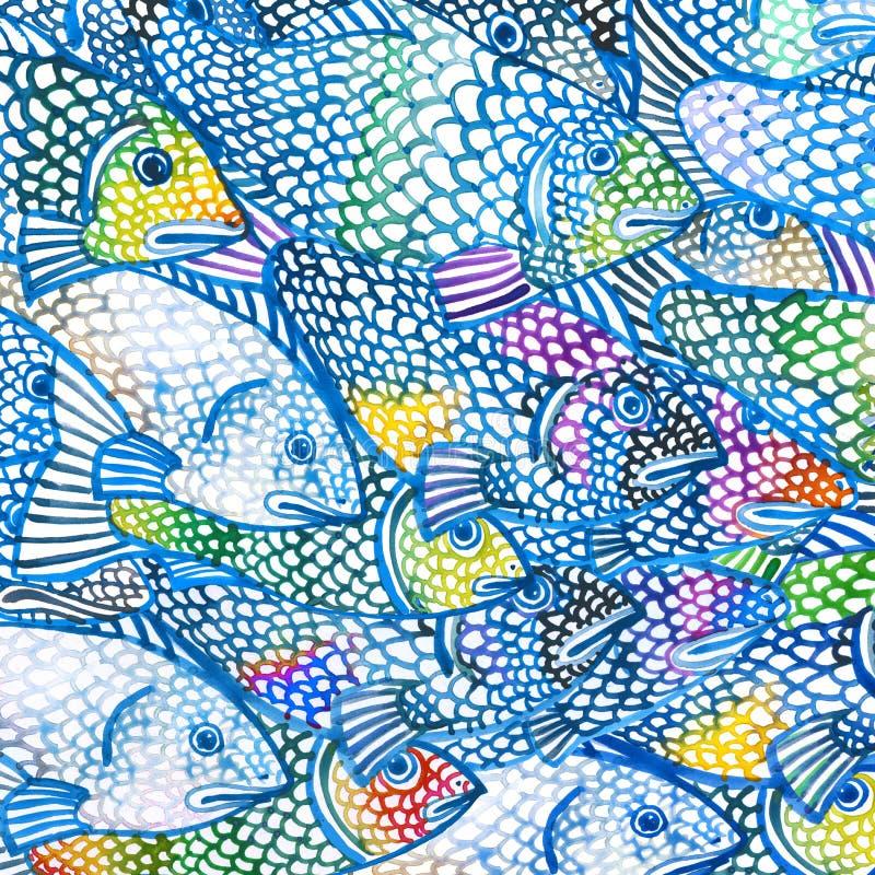 Illustrazione del pesce di mare Priorità bassa dell'acquerello illustrazione vettoriale