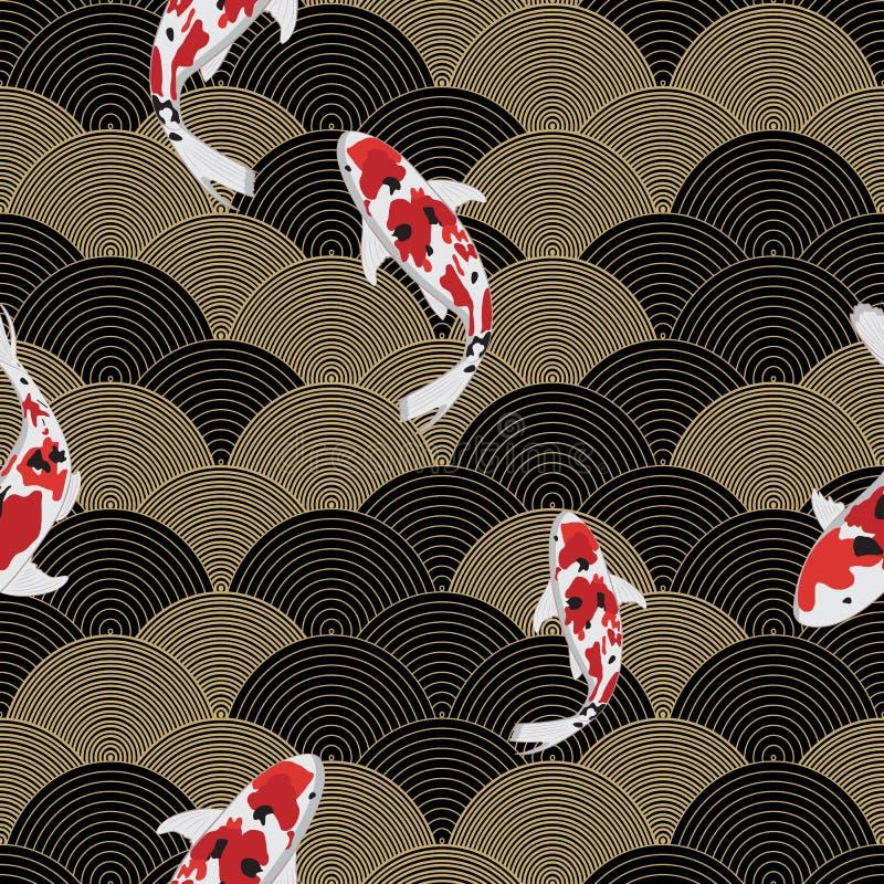 Illustrazione del pesce di vettore sull'onda di acqua, modello senza cuciture asiatico, ornamento astratto, Giappone - fondo dell royalty illustrazione gratis