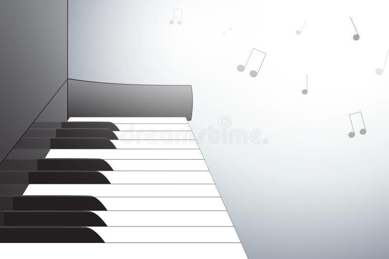 Illustrazione del piano dalla vista laterale, con le note musicali illustrazione di stock