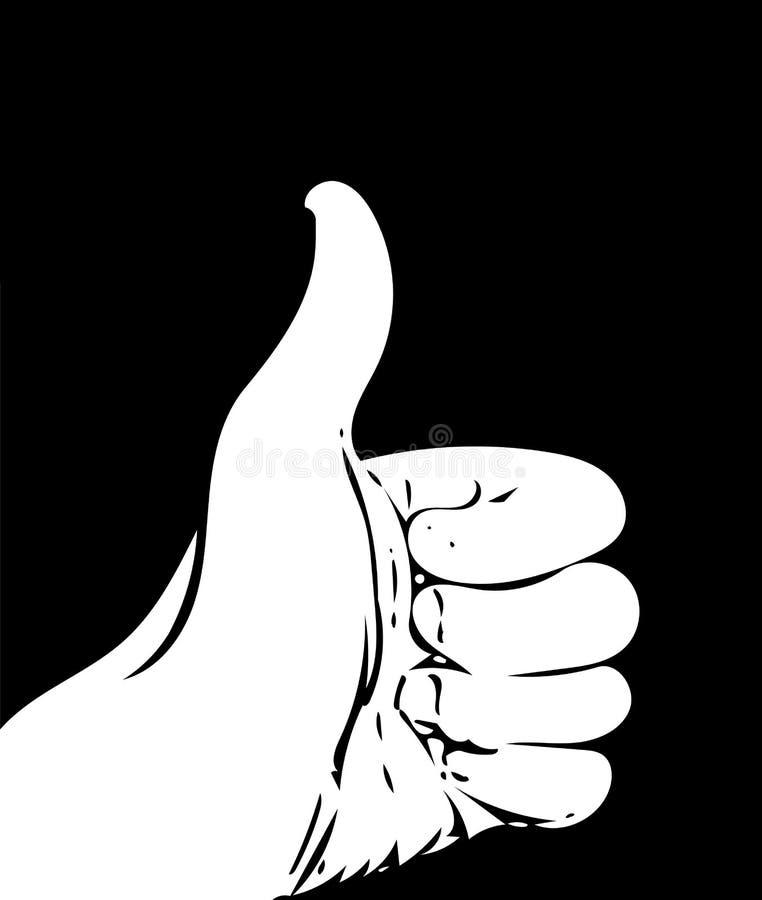 Illustrazione del pollice sul gesto nel vettore immagine stock
