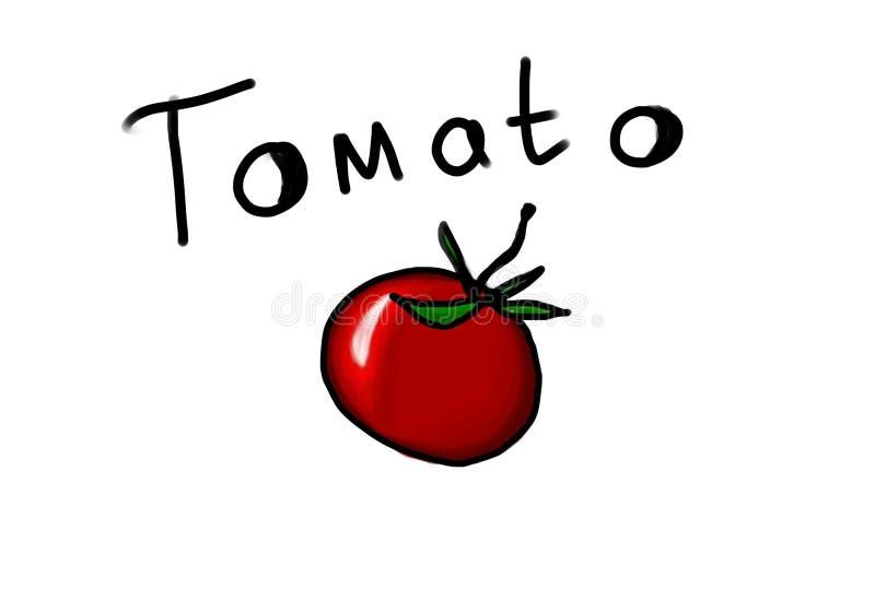 Illustrazione del pomodoro con l'iscrizione disegnata a mano dell'inchiostro, emblema del pomodoro, vegano che segna stampa con l fotografie stock