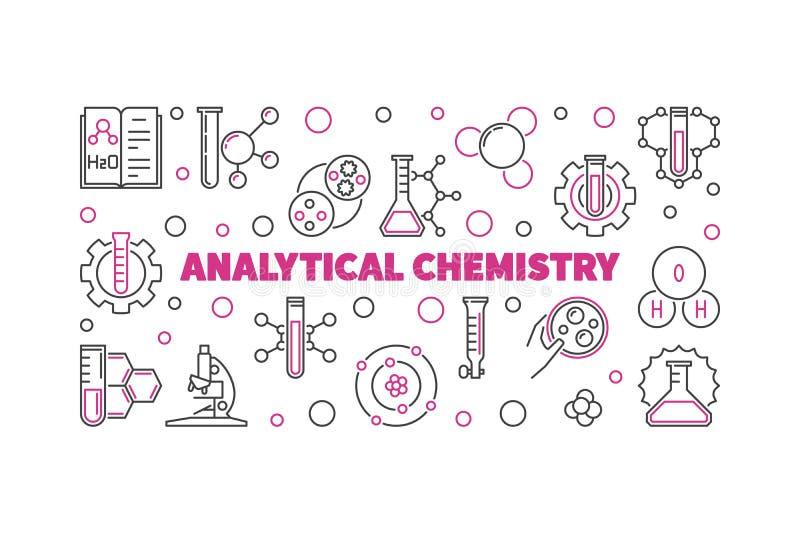 Illustrazione del profilo di chimica analitica Insegna lineare di vettore illustrazione di stock