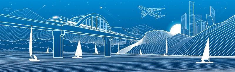 illustrazione del profilo Vista dal fiume alla città di notte in montagne Yacht su acqua Il treno viaggia lungo il ponte ferrovia royalty illustrazione gratis